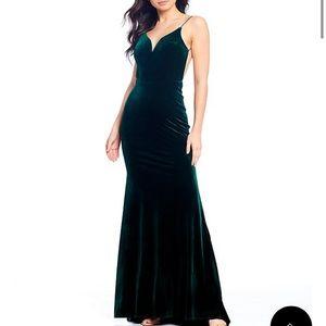 Emerald Green Satin Long Dress